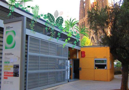 aula amb coberta verda